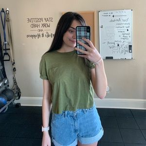 green H&M crop top